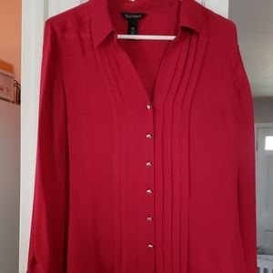 WHBM Red Silk Blouse Vented Back Silver Buttons